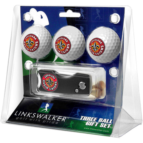 Louisiana Lafayette Ragin Cajuns NCAA 3 Golf Ball Gift Pack w/ Spring Action Divot Tool