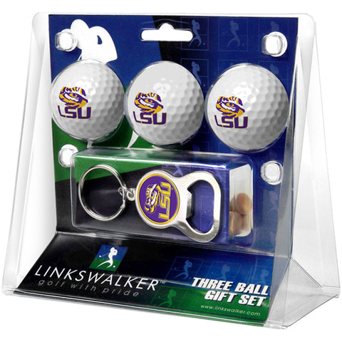 LSU Tigers NCAA 3 Ball Gift Pack with Key Chain Bottle Opener
