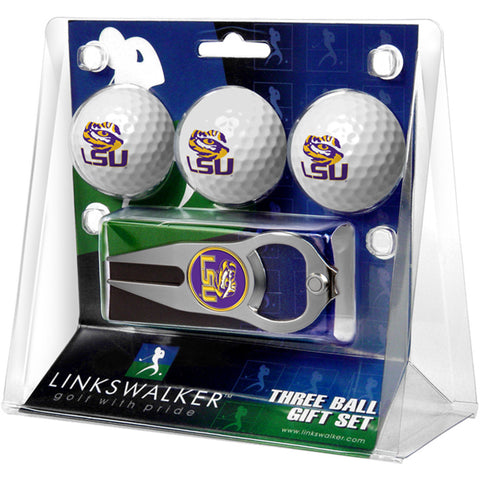 LSU Tigers NCAA 3 Ball Gift Pack with Hat Trick Divot Tool