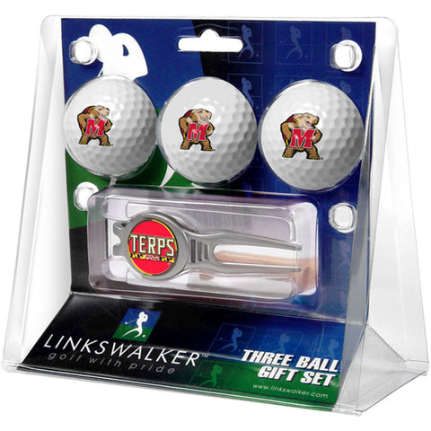Maryland Terps NCAA 3 Ball Gift Pack w/ Kool Tool