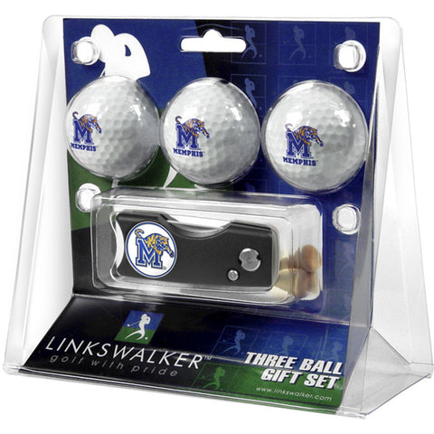 Memphis Tigers NCAA 3 Golf Ball Gift Pack w/ Spring Action Divot Tool