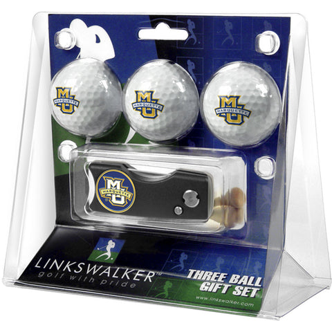 Marquette Golden Eagles NCAA 3 Golf Ball Gift Pack w/ Spring Action Divot Tool