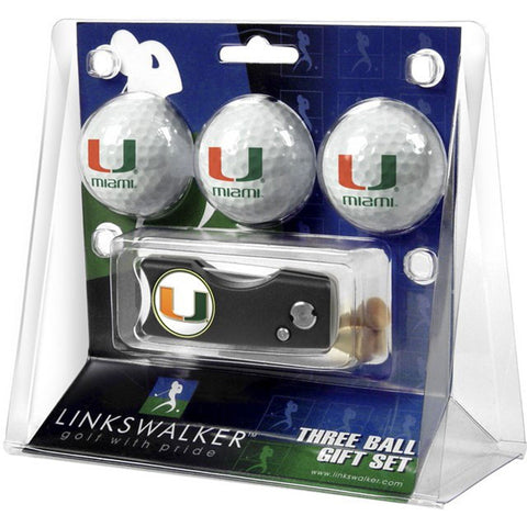 Miami Hurricanes NCAA 3 Golf Ball Gift Pack w/ Spring Action Divot Tool