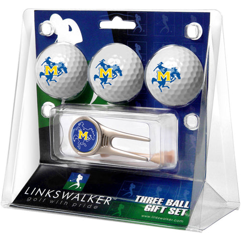 McNeese State Cowboys NCAA 3 Ball Gift Pack w/ Cap Tool