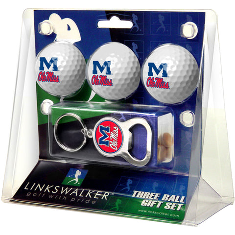 Mississippi Rebels NCAA 3 Ball Gift Pack with Key Chain Bottle Opener