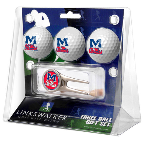 Mississippi Rebels NCAA 3 Ball Gift Pack w/ Cap Tool
