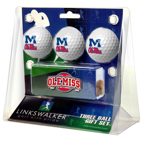 Mississippi Rebels NCAA 3 Golf Ball Gift Pack w/ Hat Clip