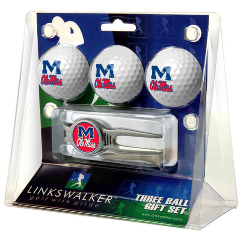 Mississippi Rebels NCAA 3 Ball Gift Pack w/ Kool Tool