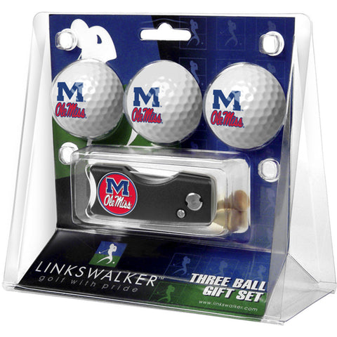 Mississippi Rebels NCAA 3 Golf Ball Gift Pack w/ Spring Action Divot Tool