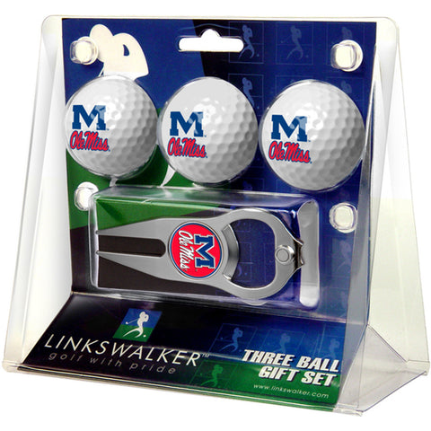 Mississippi Rebels NCAA 3 Ball Gift Pack with Hat Trick Divot Tool