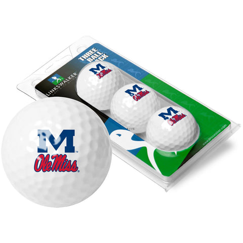 Mississippi Rebels NCAA 3 Golf Ball Sleeve Pack