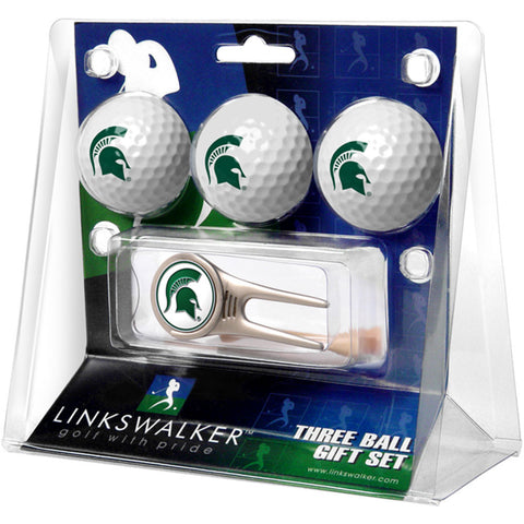 Michigan State Spartans NCAA 3 Ball Gift Pack w/ Cap Tool
