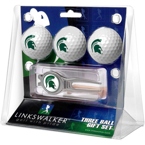 Michigan State Spartans NCAA 3 Ball Gift Pack w/ Kool Tool