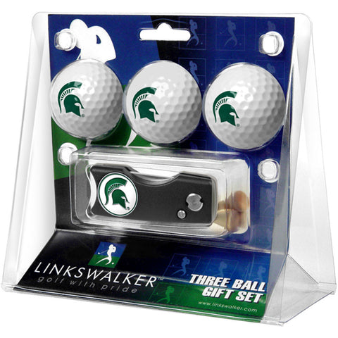 Michigan State Spartans NCAA 3 Golf Ball Gift Pack w/ Spring Action Divot Tool