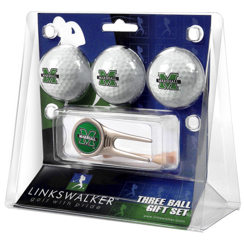 Marshall Thundering Herd NCAA 3 Ball Gift Pack w/ Cap Tool