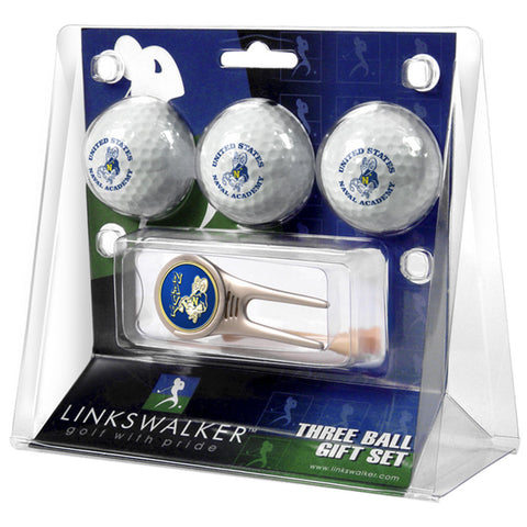 Navy Midshipmen NCAA 3 Ball Gift Pack w/ Cap Tool