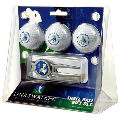 Navy Midshipmen NCAA 3 Ball Gift Pack w/ Kool Tool