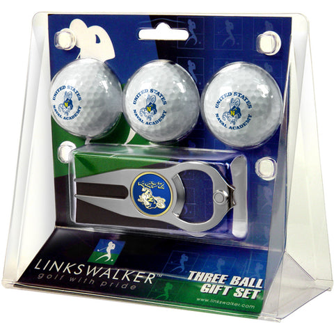 Navy Midshipmen NCAA 3 Ball Gift Pack with Hat Trick Divot Tool