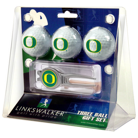 Oregon Ducks NCAA 3 Ball Gift Pack w/ Kool Tool