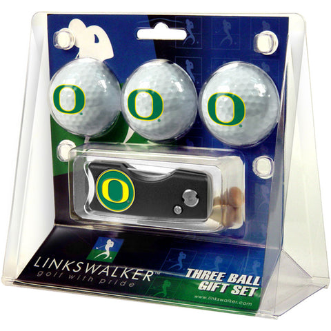Oregon Ducks NCAA 3 Golf Ball Gift Pack w/ Spring Action Divot Tool
