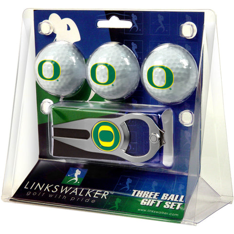 Oregon Ducks NCAA 3 Ball Gift Pack with Hat Trick Divot Tool