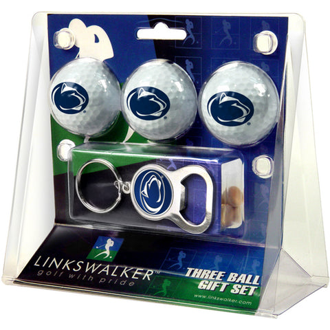 Penn State Nittany Lions NCAA 3 Ball Gift Pack with Key Chain Bottle Opener