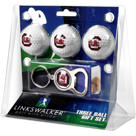 South Carolina Gamecocks NCAA 3 Ball Gift Pack with Key Chain Bottle Opener