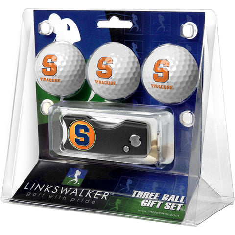 Syracuse Orangemen NCAA 3 Golf Ball Gift Pack w/ Spring Action Divot Tool