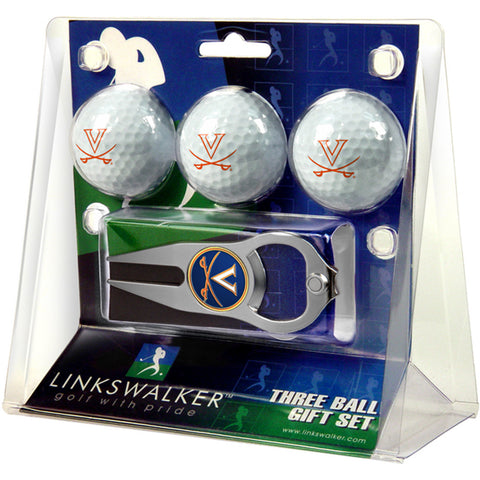 Virginia Cavaliers NCAA 3 Ball Gift Pack with Hat Trick Divot Tool