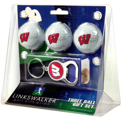 Wisconsin Badgers NCAA 3 Ball Gift Pack with Key Chain Bottle Opener