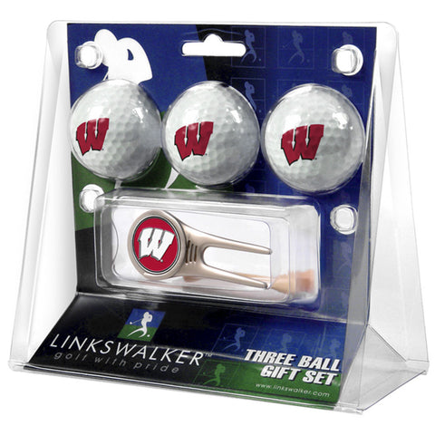 Wisconsin Badgers NCAA 3 Ball Gift Pack w/ Cap Tool