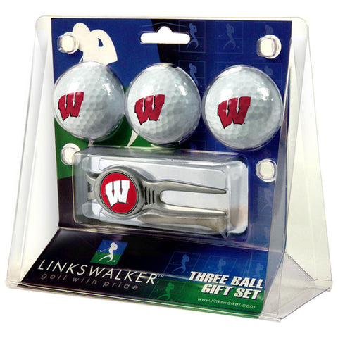 Wisconsin Badgers NCAA 3 Ball Gift Pack w/ Kool Tool
