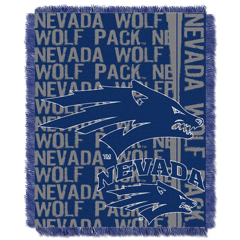 Nevada Wolf Pack NCAA Triple Woven Jacquard Throw Double Play Series 48x60