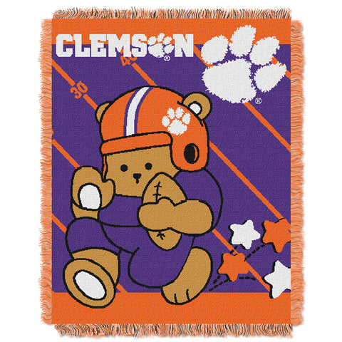 Clemson Tigers NCAA Triple Woven Jacquard Throw Fullback Baby Series 36x48