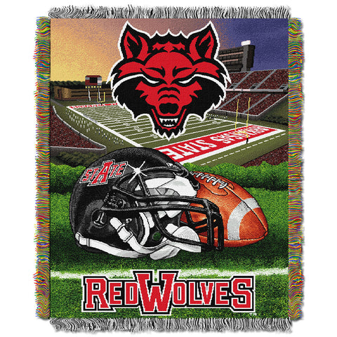 Arkansas State Red Wolves NCAA Woven Tapestry Throw Home Filed Advantage 48x60