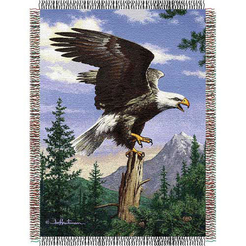 Hautman Bros Eagle Perch Triple Woven Jacquard Throw 48x60