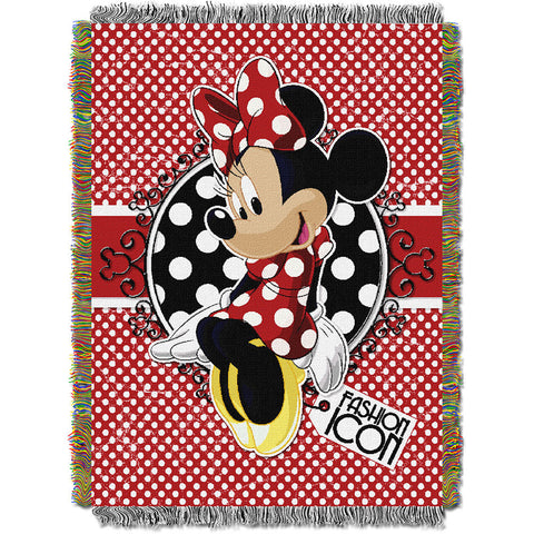 Minnie Bowtique Forever 051 Woven Tapestry Throw Blanket 48x60