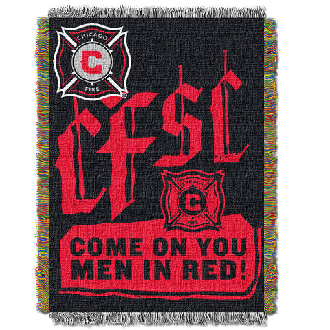 Chicago Fire MLS Woven Tapestry Throw Blanket 48x60