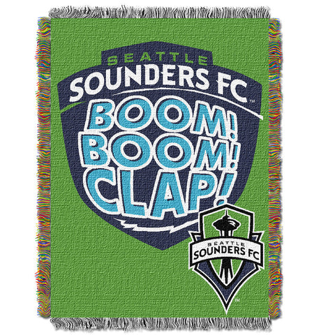 Seattle Sounders FC MLS Woven Tapestry Throw Blanket 48x60