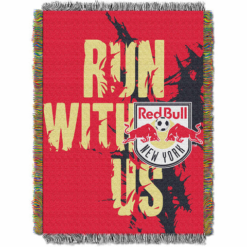 New York Red Bulls MLS Woven Tapestry Throw Blanket 48x60
