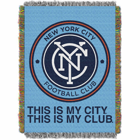 New York City FC MLS Woven Tapestry Throw Blanket 48x60