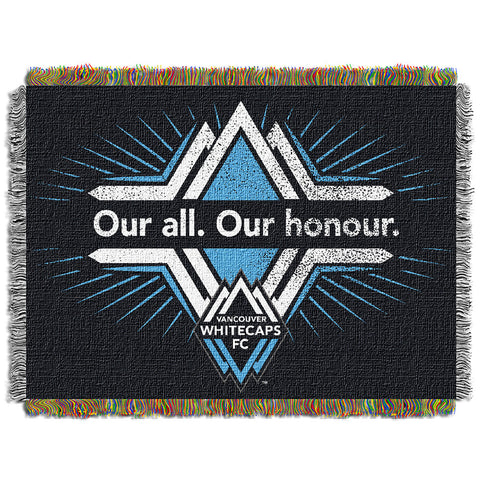 Vancouver WhiteCaps FC MLS Woven Tapestry Throw Blanket 48x60