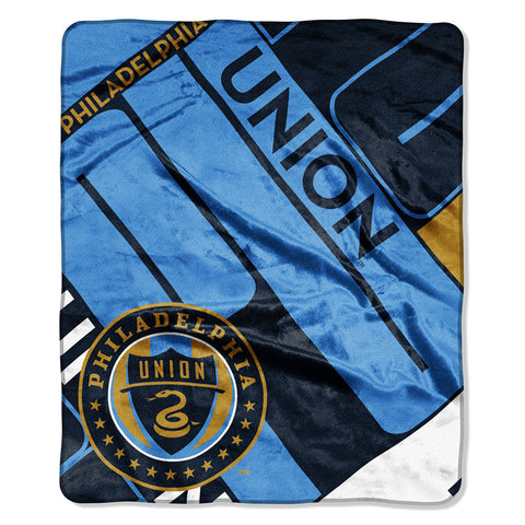 Philadelphia Union MLS Royal Plush Raschel Blanket Scramble Series 50in x 60in