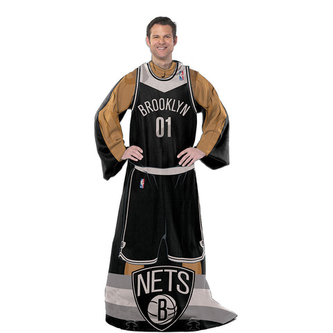 Brooklyn Nets NBA Adult Uniform Comfy Throw Blanket w/ Sleeves