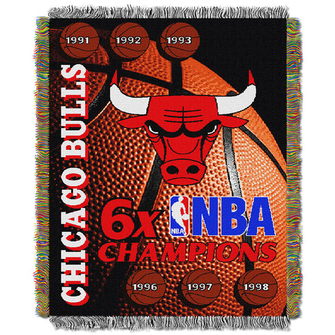 Chicago Bulls NBA 6X Commemorative Woven Tapestry Throw Blanket by Northwest 48x60