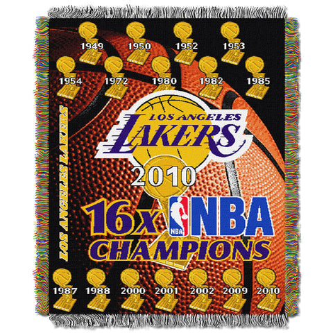 Los Angeles Lakers 16x NBA Champs Commemorative Woven Tapestry Throw Blanket by Northwest 48x60