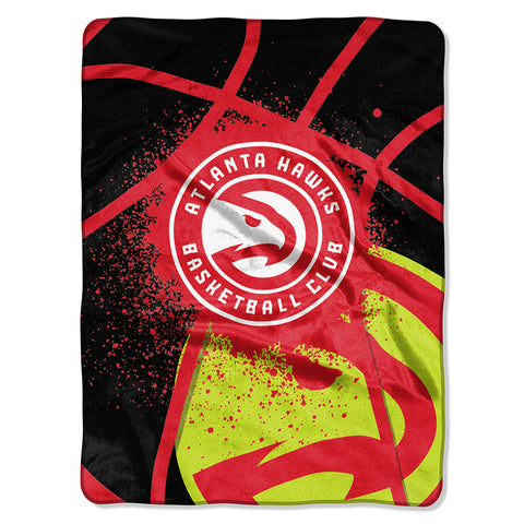 Atlanta Hawks NBA Royal Plush Raschel Blanket Shadow Series 60x80