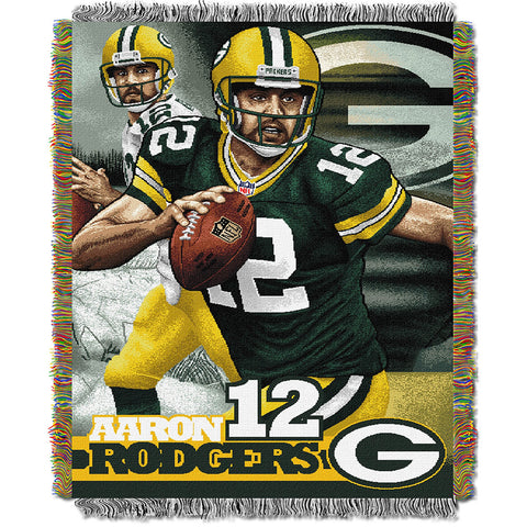 Aaron Rodgers #12 Green Bay Packers NFL Woven Tapestry Throw Blanket 4