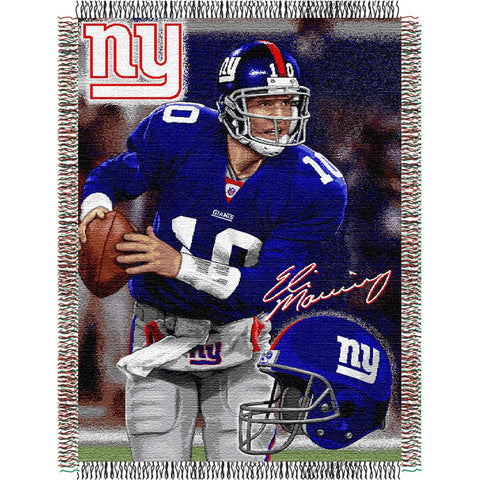 Eli Manning #10 New York Giants NFL Woven Tapestry Throw 48x60