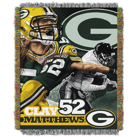 Clay Matthews Green Bay Packers NFL Woven Tapestry Throw Blanket 48x60